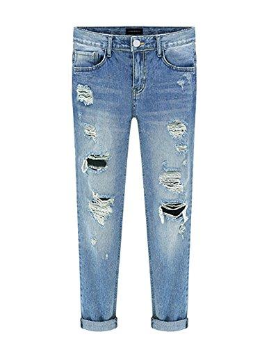 ShiFan Dchir Bleu Crayon Femme Baggy Pants Jeans Casual Boyfriend Denim Pantalons aawRr8