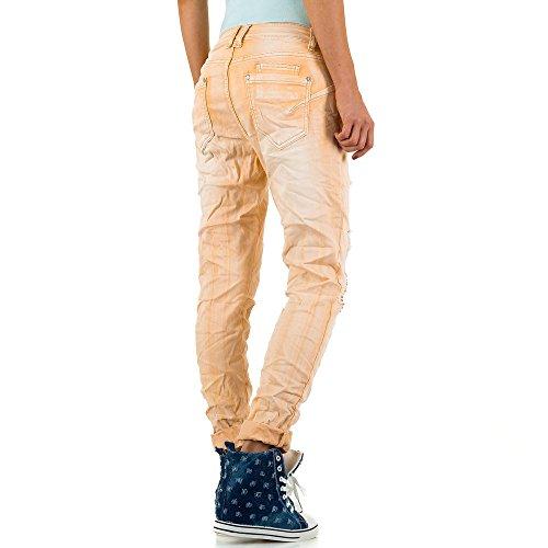 Mozzaar Destroyed Boyfriend Jeans Für Damen , Apricot In Gr. M bei Ital-Design