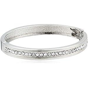 1928 Jewelry Silver-Tone Crystal Bangle Bracelet