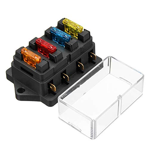 Audew Fuse Holder Box Block 4 Way CAR Vehicle Circuit Automotive + 4 Blade Fuse 12/24V
