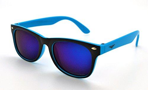 VertX Polarized Lightweight Strong Trendy Boys & Girls Kids Retro Wayfarer Sunglasses w/FREE Microfiber Pouch - Blue Frame - Purple Lens