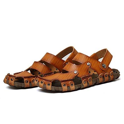 per all'aperto sudore pelle in pelle uomo antiscivolo sandali chiusi e spiaggia Brown la da in coperto per libero il tempo adatti uomo regolabili sandali da Sandali al Sandali traspiranti assorbenti pqxwOtRntg