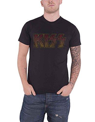 Vintage Kiss T-shirt (Kiss T Shirt Classic Band Logo Vintage Distressed Official Mens Black)