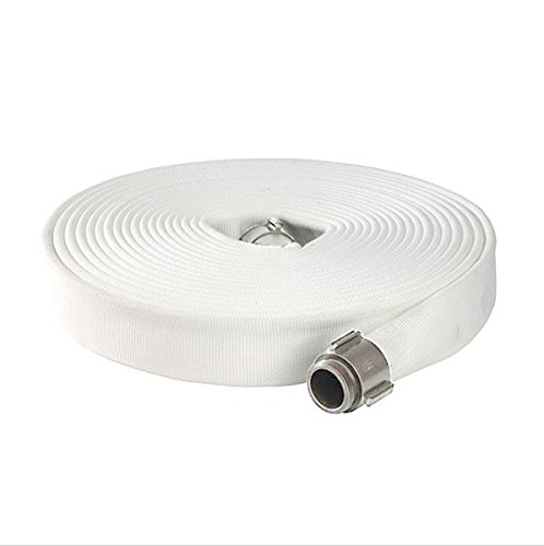 North American Fire Hose IA615X50PEN Corporation Double Jacket Fire Hose, White, 1-1/2'' ID, 50', 900 psi Burst Pressure, M x F NST Aluminum Connectors, 600 psi, Polyester/Rubber/Aluminum