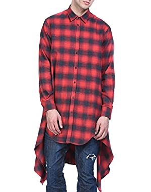 Mens Fashion Casual Long Sleeves Hipster Hip Hop Button up Plaid Long Shirt