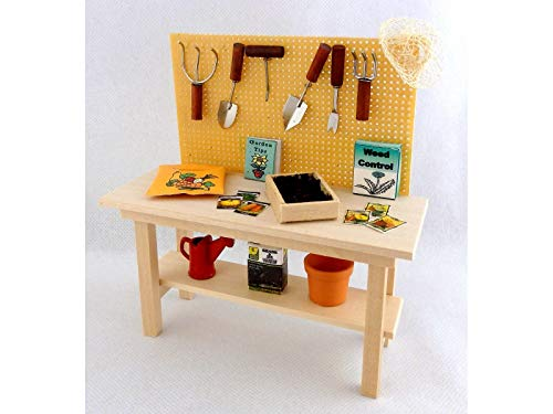 - Melody Jane Dolls Houses House Miniature Garden Shed Greenhouse Furniture Full Potting Work Bench