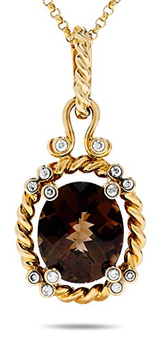 18k Heavy Yellow Gold Smoky Quartz and Diamond Rope Pendant Necklace (Dia: 1/4 Carat) ()