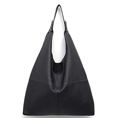 4af41103d1d9bb Amazon.com  STEPHIECATH Women s Handbag Genuine Leather Slouchy Hobo ...