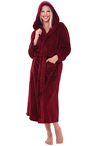 (Alexander Del Rossa Womens Plush Fleece Robe with Hood, Large XL Burgundy (A0116BRGXL) )