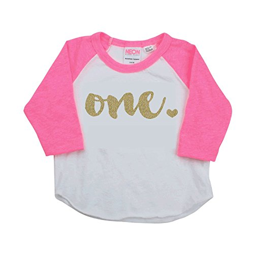 1st Birthday Girl Outfit One Year Old Pink Raglan Shirt 6 12