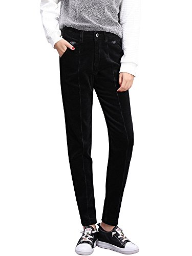 ch Corduroy Skinny Ankle Pants Slim Pencil Pants Dark Black Tag 31-US 12 ()
