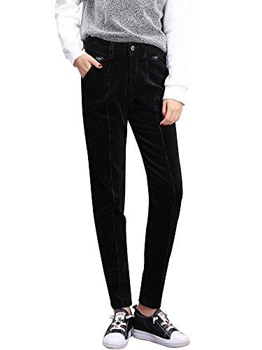 Gooket Women's Stretch Corduroy Skinny Ankle Pants Slim Pencil Pants Dark Black Tag 31-US 12