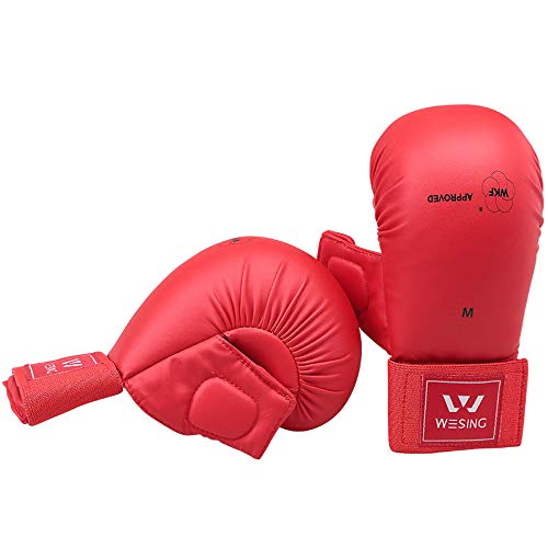Wkf Karate Mitt - Wesing WKF Sparring Karate Gloves with Thumb Protection Blue Red