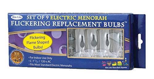 Electric Chanuka Menorah Flickering Bulbs 9 Pack
