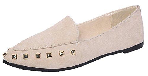 T&Mates Womens Elegance Rivets Studded Low Cut Flat Slip-on Casual Ballet Walking Shoes (8 (Mystique Studded Sandals)
