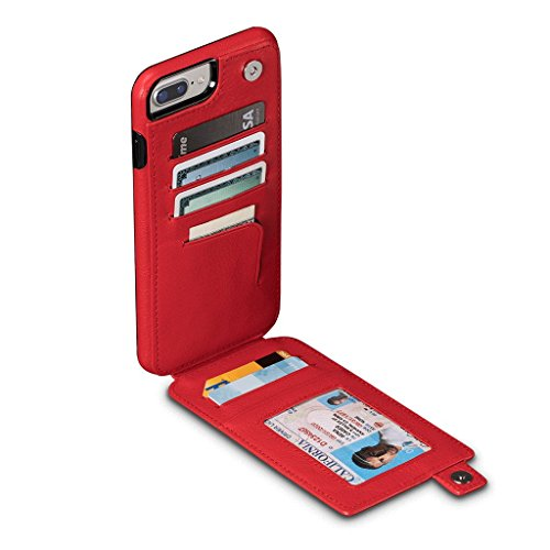 WalletSkin Leather Wallet Case for iPhone 8 Plus/7 Plus/6 Plus (Red)