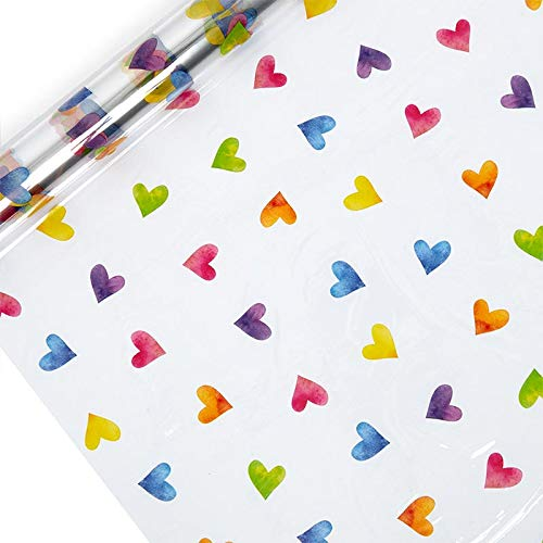 Rainbow Hearts Polypropylene Film 30 X 100