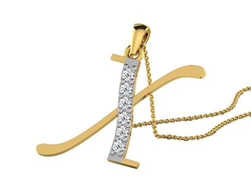 """Libertini Pendentif argent 925 plaque or Jaune serti de Diamant en forme de """"X"""" Alphabet"""