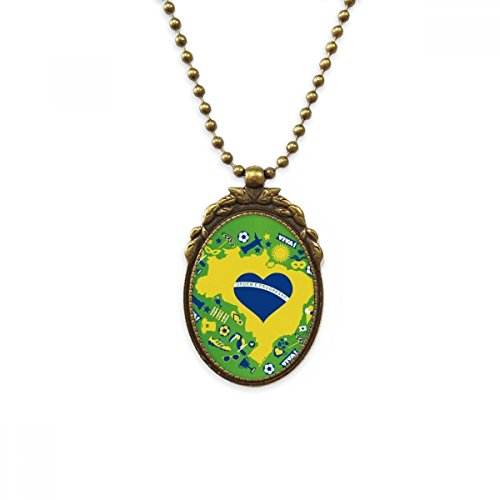 (DIYthinker Heart-Shaped Orderm Brazil Maps Antique Brass Necklace Vintage Pendant Jewelry Deluxe Gift )