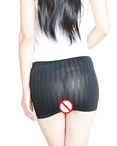 Silk Stripe Skirt (LinvMe Women's Sexy See Through Package Hip Mini Skirts L Stripe)
