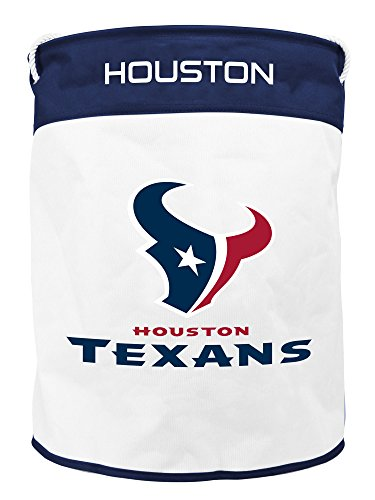 NFL Houston Texans Canvas Laundry Basket with Braided Rope - Houston Embroidered Leather Texans