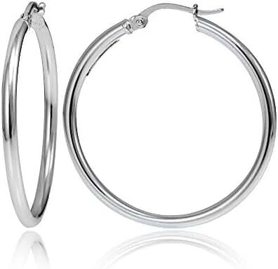 Hoops & Loops Sterling Silver 2mm High Polished Medium Round Hoop Earrings