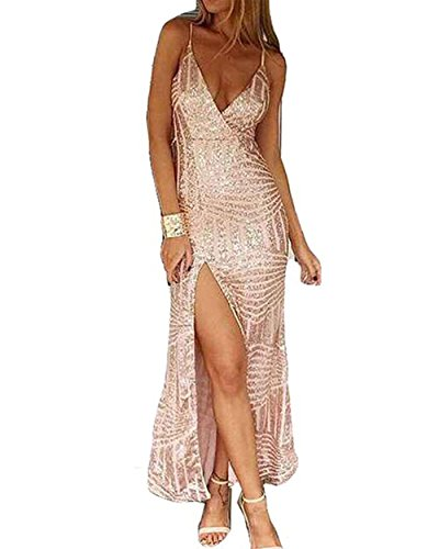 Miss ord Women's Sleeveless V Neck Sequined Maxi Prom Dress with Side Split X-Small Gold