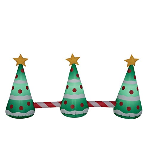Christmas Inflatable 3 Christmas Trees w/ Star Airblown Pathway Marker/ Yard Decoration By Gemmy