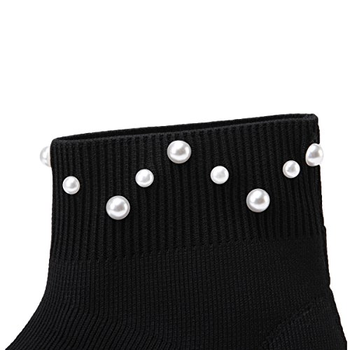 onlymaker Women's Fashion High-Top Stretchy Flyknit Sock Sneakers Pearls Studded Pull On Ankle Sock Booties Breathable Knit Casual Shoes Black-1 ZUGLX