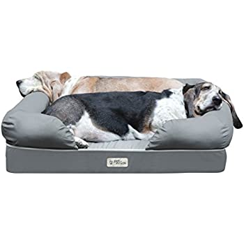"""PetFusion Ultimate Solid 4"""" Memory Foam Dog Bed for Medium & Large Dogs (36x28x9"""" orthopedic dog bed; Gray). Replacement covers & blankets also avail"""