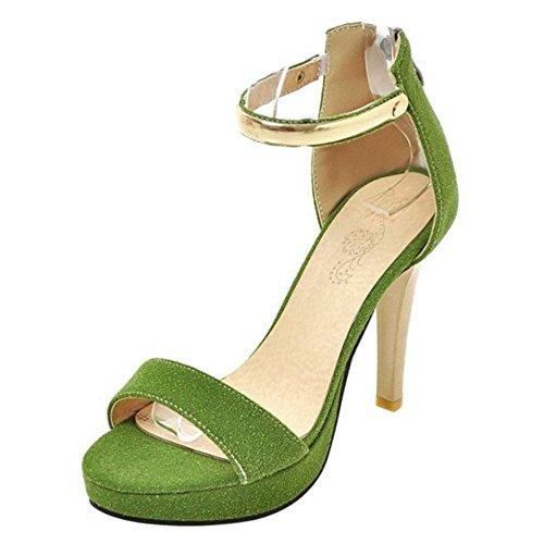 Sandali Moda Cinturino RAZAMAZA Alto Verde Donna Tacco Scarpe CqRxxwn86T