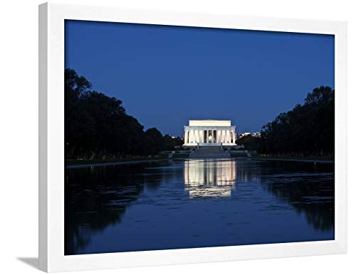 ArtEdge Lincoln Memorial Reflection in Pool, Washinton D.C, USA by Stocktrek Images, Wall Art Framed Print, 18x24, White Unmatted
