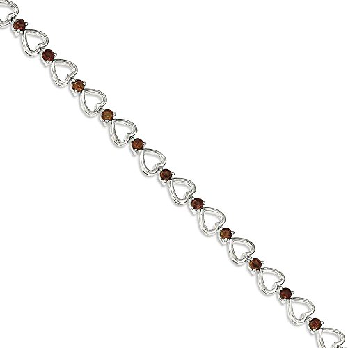ICE CARATS 925 Sterling Silver Red Garnet Bracelet 7.50 Inch Gemstone /love by ICE CARATS