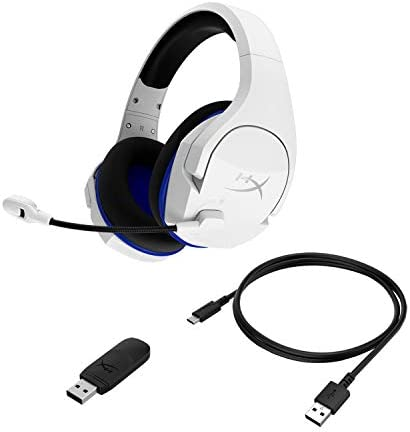 HyperX Cloud Stinger Core – Wireless Gaming Headset, for PS4, PC, Lightweight, Durable Steel Sliders, Noise-Cancelling Microphone, White (HHSS1C-KB-WT/G) 41KYIEs SnL