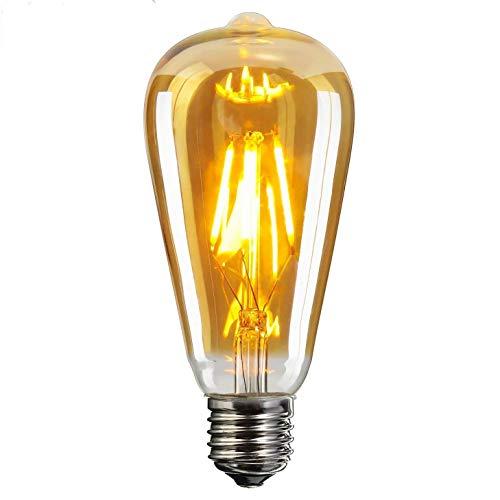 1- Pack,E26 LED Edison Light Bulbs, 6W Equivalent 60W, Amber Glass LED Light Bulbs, ST64 Vintage Edison Light Bulb LED Lighting, 600 Lumen Warm White (Soft Amber Glass)