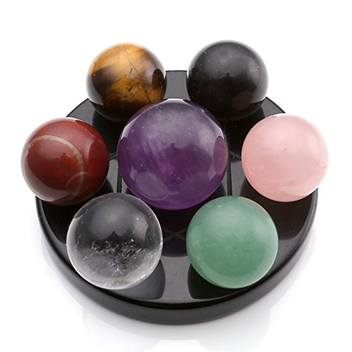 MANIFO 7 Chakra Gemstone Ball Sphere Set on Black Obsidian Hexagram Stand Reiki Healing Crystals Authentic Stress Free Relaxation Fengshui Seven-Star Appetizer Plate ()