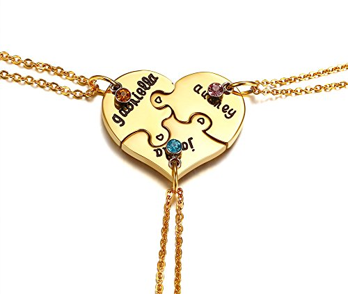 PJ Jewelry Stainless Steel Gold Plated Best Friends Forever 3pcs Puzzle Matching BFF Friendship Pendant Necklace