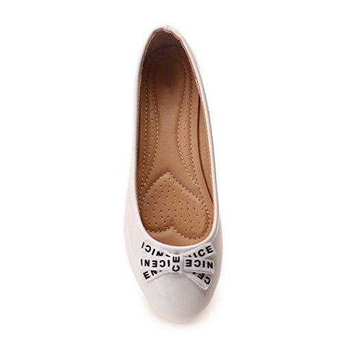 Blanc La Vernies Avec Ornées À Modeuse Nœud D'un Ballerines Inscription L'avant ArxwvfqA