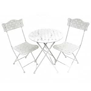 STAR - Metal Garden Bistro Table and Two Chairs - Cream