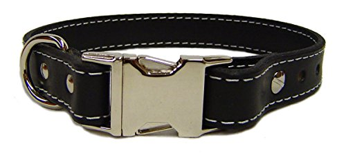 Auburn Leathercrafters Seneca Side Release Buckle Collar, Black, 24 inches (22 inches to 24 inches)
