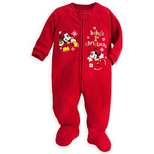 Mickey and Minnie Mouse ''Baby's 1st Christmas'' Blanket Sleeper 3-6 MOS. by Disney