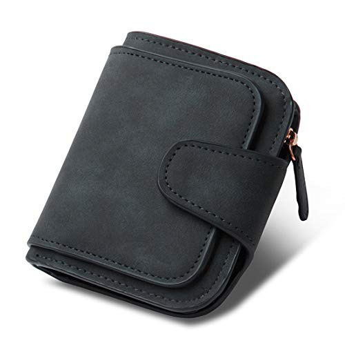 INOVERA Black Women's Vegan Leather Tri-fold Women Fashion Card Coin Holder Ladies Small Purse Clutch Wallet (KK29)