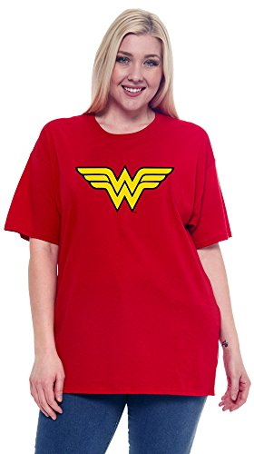 DC Comics Wonder Woman Plus Size T-Shirt Logo Graphic Costume Print (Red, 3X)]()