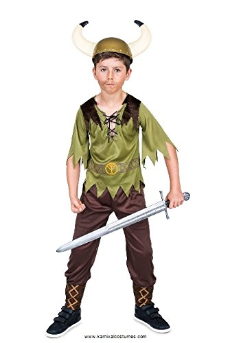 Viking Costume for Boys, with Nordic Top and Trousers, Kids 5-6 years, Medium]()
