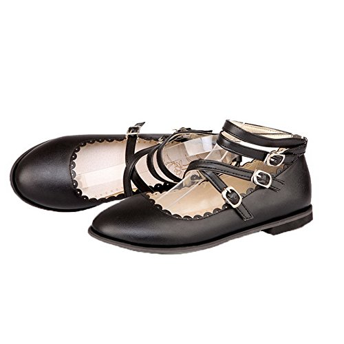 Women's PU Buckle WeenFashion Toe Closed Black Round Solid Shoes Pumps Heels Low HqxEFfd
