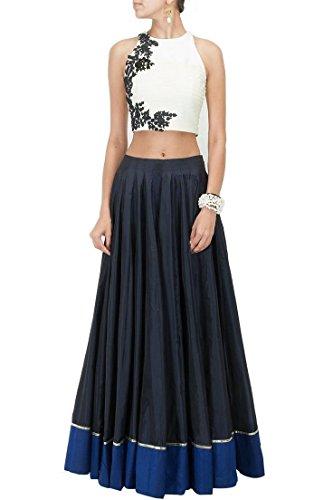 Binny Creation Women's Silk Lehanga Choli Free Size Blue, White ()