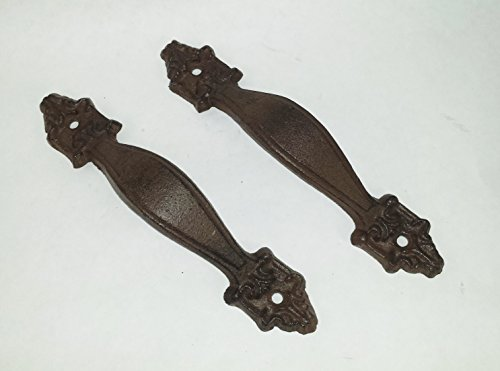 Set Brown Finish Antique (Aunt Chris' Products - [Lot/Set of 2] - Antique Flat Victorian Handle - Durable Cast Iron - Use Indoor Or Outdoor - Dark Brown Finish - Drawer Handle, Pull Shed, Door Handles, Trunk Handles, Ect.)