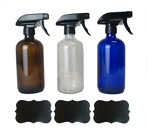 Spray Purpose Bottle (Europa Essentials Z01369 Empty Refillable 16oz Glass Spray Bottles with Chalk Labels (3 Pack) Mixing Containers Oils Blends, Variety Colors (Clear, Amber, Cobalt Blue))