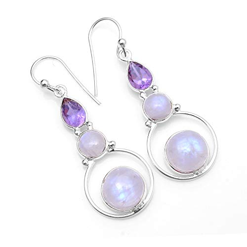 Silver Palace Sterling Silver Natural Rainbow Moonstone,Amethyst Drop Dangle Earrings for Womens