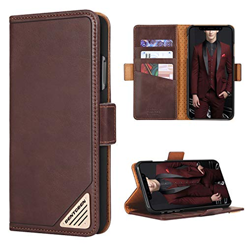 BENTOBEN Genuine Leather Wallet Case for iPhone Xs Max, Shockproof Heavy Duty Rugged Protective Magnetic Closure Case with Flip Kickstand Credit Card Slot Cash Holder for iPhone Xs Max 2018,Brown